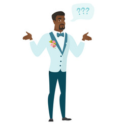 African-american confused groom with spread arms vector
