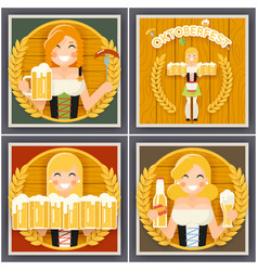 autumn sausage beer mug oktoberfest girl character vector image vector image