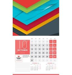 Calendar for 2016 year october design clean vector