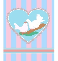 Card with cartoon couple of white doves in love vector image
