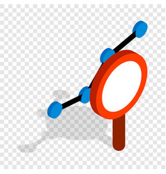 chart through a magnifying glass isometric icon vector image
