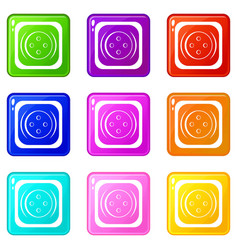 Clothing square button set 9 vector