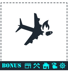 Crash plane icon flat vector