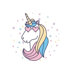 drawing cute unicorn icon vector image vector image