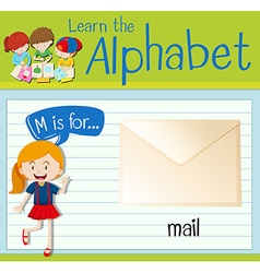 Flashcard letter M is for mail vector image vector image
