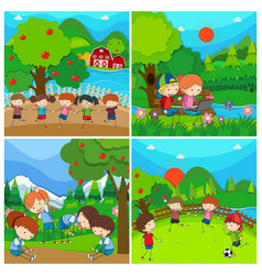 four scenes with kids in park vector image vector image