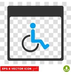 Handicapped calendar page eps icon vector