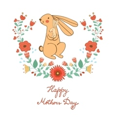Happy Mothers day card with cute rabbits mom and vector image vector image