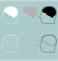 head with brain white grey black icon vector image vector image