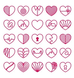 Heart icons set on white background vector image vector image