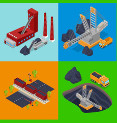Isometric coal industry with plant miner vector