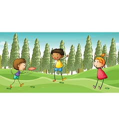 Kids playing flying dish vector image vector image