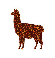 Lama mammal color silhouette animal vector