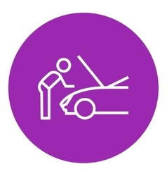 Man fixing car line icon vector