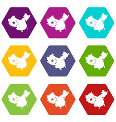 map of china icon set color hexahedron vector image