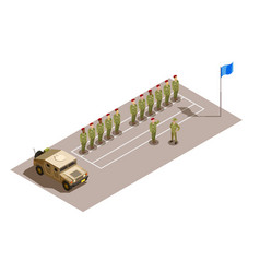 Military division service isometric composition vector