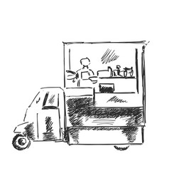 Mobile kitchen lunch van black and white sketch vector