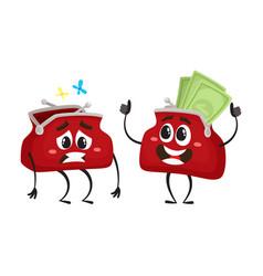 money wallet character flat vector image vector image