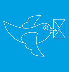 Pigeon bird flying with envelope icon vector