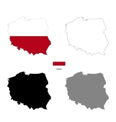 Poland country black silhouette and with flag on vector