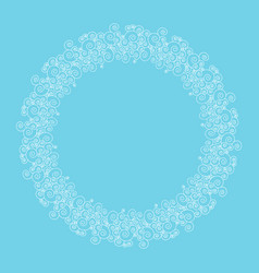 Round frame made of swirly border on blue vector
