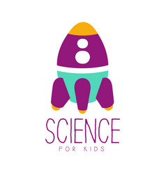 Science for kids logo symbol with rocket colorful vector