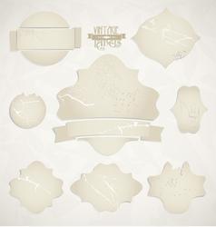 scratched vintage labels set vector image vector image