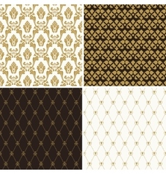 Seamless vintage floral background gold and black vector image vector image