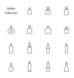 Silhouette of bottle collection set icons vector