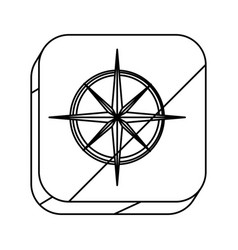 Square silhouette button with compass rose vector