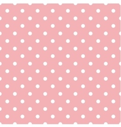Tile pattern with white polka dots on pink vector image vector image