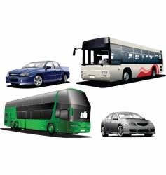 Two buses and two cars vector