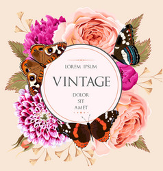 Vintage card with beautiful flowers vector