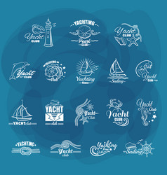 white emblems yachting club vector image vector image