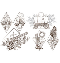 wild west and nature a set of outline with vector image vector image