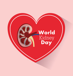 World kidney day heart support medical campaign vector