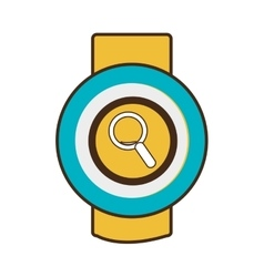 Yellow square watch with workout and media icon on vector