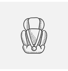 Baby car seat sketch icon vector image