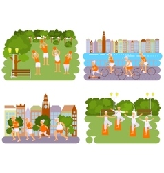 Banners elderly people doing exercises vector