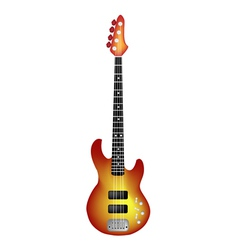 Beautiful red electric guitar on white background vector