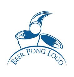 Beer pong party logo design vector