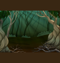 Deep forest scene with many trees vector