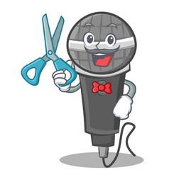 Barber microphone cartoon character design vector