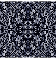 Silver baroque pattern vector