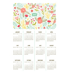 Beautiful floral calendar for year 2015 vector image