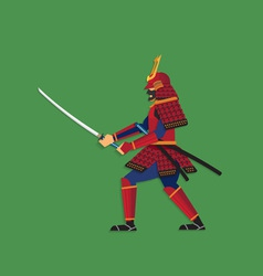 Samurai warrior brandishing sword vector