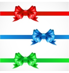 Set of gift bows with ribbons red green and blue vector