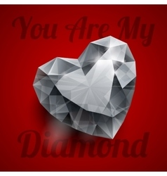 Shiny isolated diamond heart shape with realistic vector