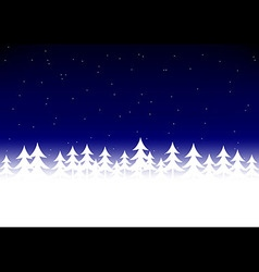Christmas tree snow dark blue sky vector