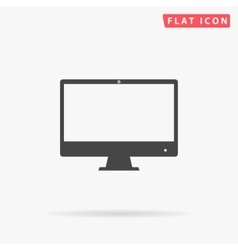 Computer display simple flat icon vector